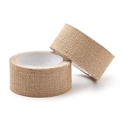 Self Adhesive Burlap Ribbon, Hessian Ribbon, Jute Ribbon, BurlyWood, 1-7/8 inches(48mm); about 2m/roll, 5rolls/group(OCOR-T010-06-4.8cm)