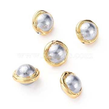 Natural Cultured Freshwater Pearl Beads, with Golden Plated Brass Edge, Round, AliceBlue, 17~20x14~15mm, Hole: 0.8mm(X-PEAR-G008-09C)