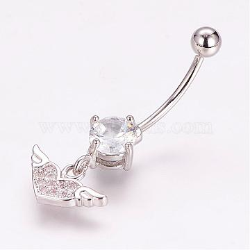 Piercing Jewelry, Brass Micro Pave Cubic Zirconia Belly Rings, with 304 Stainless Steel Pins, Heart with Wing, Platinum, 32mm; Pin: 1.5mm(ZIRC-J017-22P)