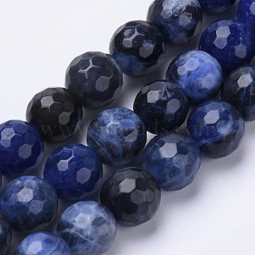 Natural Sodalite Beads Strands, Faceted, Round, 6mm, Hole: 1mm; about 62pcs/strand, 15.3inches(G-S281-07-6mm)