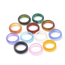 anneaux d'agate naturelles, couleur mélangée, taille 8 (18 mm)(X-G-S279-42)