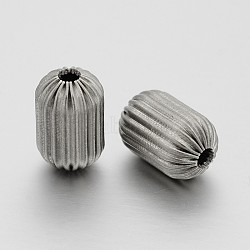 Column 304 Stainless Steel Corrugated Beads, Stainless Steel Color, 15x10mm, Hole: 3mm(STAS-N062-09B)