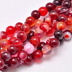 Natural Striped Agate/Banded Agate Bead Strands, Dyed & Heated, Round, Grade A, FireBrick, 8mm, Hole: 1mm; about 48pcs/strand, 15.1inches(385mm)