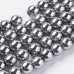 Посеребренные магнитные синтетический гематит круглые бусины пряди, Размер : диаметром около 8 мм , отверстия: 1 mm(X-G-H1098-1)