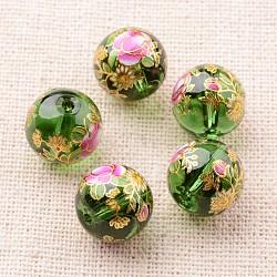цветочная картина печатные стеклянные круглые бусины, зеленый, 12 mm, отверстия: 1 mm(GLAA-J087-12mm-A16)