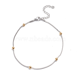 304 Stainless Steel Box Chain Anklets, with Round Beads and Lobster Claw Clasps, Golden & Stainless Steel Color, 9-5/8inches(24.5cm)(AJEW-G024-01A)