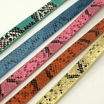 PU Leather Cord, Imitation Snake Skin, Mixed Color, 10x2mm, about 1.31 yards( 1.2m)/strand(LC-D005-M)