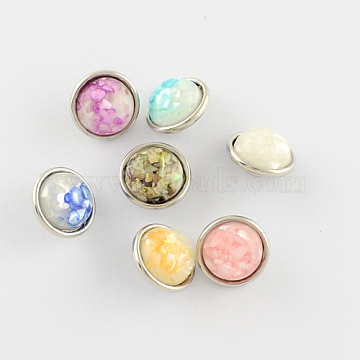 Flat Round Buttons, Platinum Plated Brass Resin Shell Jewelry Snap Buttons, 12x8mm, Knob: 5mm(X-RESI-S055-M)