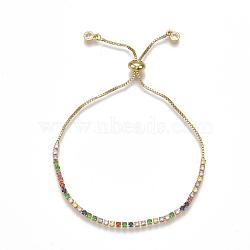 Adjustable Brass Cubic Zirconia(Random Mixed Color) Slider Bracelets, Bolo Bracelets, Golden, 9-1/2inches(24cm)(BJEW-S141-01)