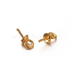 Plaqué or 304 stainles tasse en acier perle cheville bails broches pendentifs, pour la fabrication de perles semi-percées, or, 7.5x3mm, trou: 1.5 mm; broches: 0.8 mm(STAS-E088-09-3mm)