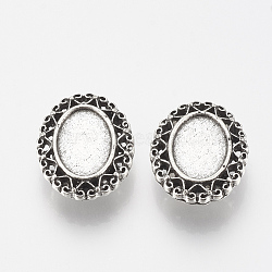 Tibetan Style Alloy Slide Charms Cabochon Settings, Lead Free, Oval, Antique Silver, Tray: 10x14mm; 22.5x19x8mm, Hole: 3x10mm(X-TIBE-Q086-068AS-LF)
