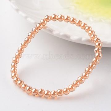 Glass Beads Stretch Bracelets, Round, SandyBrown, 2-1/8inches(55mm)(BJEW-E290-03)