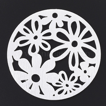 Aluminium Big Pendants, Laser Cut Big Pendants, Flat Round with Flower, Silver Color Plated, 50x1mm, Hole: 3mm(X-ALUM-T001-29S)