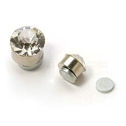 Clous d'oreilles magnétiques en acier inoxydable avec strass, plat rond, cristal, environ 6 mm de diamètre, épaisseur de 6mm, 12 paires / carte(EJEW-I054C-06)