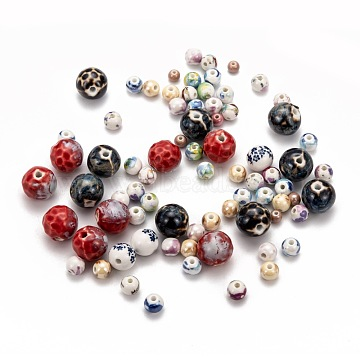Handmade Printed Porcelain Beads, Round, Mixed Patterns, Mixed Color, 6~16.5mm, Hole: 1.5~3mm(PORC-MSMC0003-04)