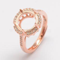 pièces d'anneau de doigt en argent sterling réglables 925, avec zircons, plat rond, or rose, plateau: 10 mm; 16 mm(STER-P033-28RG)