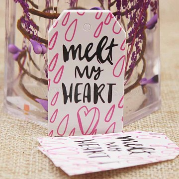 Paper Gift Tags, Hange Tags, For Arts and Crafts, Valentine's Day, Rectangle with Word Meet My Heart, White, 50x30x0.4mm, Hole: 3mm(CDIS-P001-E06-A)