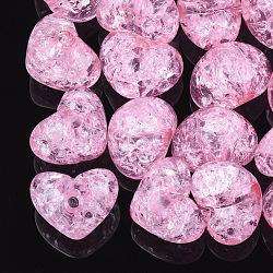 Perles en acrylique transparentes craquelées, demi-percés perles, cœur, hotpink, 14.5x18x13mm, demi-trou: 3.5 mm(TACR-S148-04A)