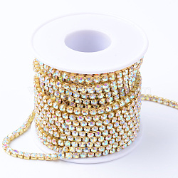 Chaînes en laiton avec strass, avec bobine, strass chaînes de tasse, non plaqué, sans nickel, cristal ab, 4mm, environ 10 yard / rouleau(CHC-T001-SS18-02C)