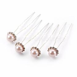 Accessoires de cheveux de dame, fourches à cheveux boule en fer plaqué argent, avec perles en plastique imitation abs et strass, peachpuff, 75~76mm(PHAR-XCP0002-A-02)