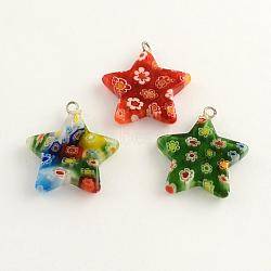 main pendentifs en verre millefiori, avec les conclusions de fer de platine plaqué, étoiles, couleur mélangée, 26x24x4 mm, trou: 2 mm(LK-R006-04)