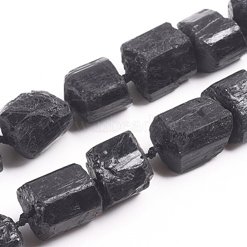 Raw Rough Natural Black Tourmaline Beads Strands, Nuggets, 11~18x12~17mm, Hole: 1mm, about 25pcs/strand, 16.34 inches(41.5cm)(G-G838-02)
