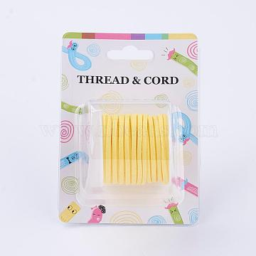 3x1.5mm Yellow Flat Faux Suede Cord, Faux Suede Lace, about 5.46 yards(5m)/roll(X-LW-R003-38)