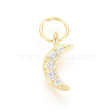 925 Sterling Silver Charms, with Cubic Zirconia and Jump Rings, Moon, Clear, Golden, 8x4x1mm, Hole: 3mm(STER-G031-03G)
