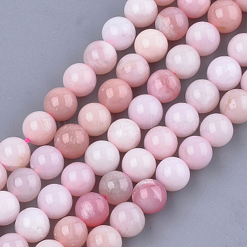 Natural Pink Opal Beads Strands, Round, 8mm, Hole: 1mm, about 23~25pcs/strand, 7.6 inches(X-G-S333-8mm-017)