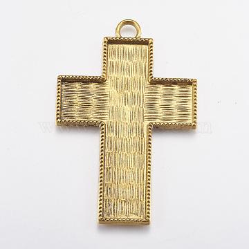 Tibetan Style Pendant Cabochon Enamel Settings, Lead Free, Cross, Antique Golden, 80x53x4mm, Hole: 6mm; Tray: 68x49mm(X-TIBE-A22088-AG-LF)