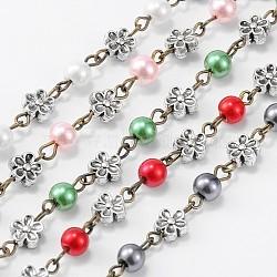 """Chaînes en perles de verre rondes manuelles pour fabrication de bracelets et colliers, avec mailles en alliage de style tibétain et épingle à oeil en fer, non soudée, couleur mixte, 39.3""""(AJEW-JB00074)"""