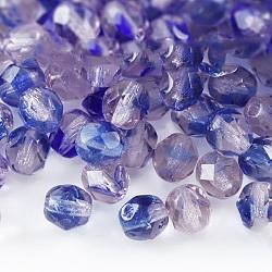 Perles de verre polies au feu tchèques, facette, tambour, bleu, 6x6mm, trou: 1 mm; environ 37 pcs / 10 g(X-GLAA-F100-D11)