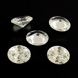ovale zircone cubique en forme pointé cabochons, facettes, effacer, 18x13 mm(ZIRC-R010-18x13-02)