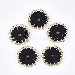 тканые подвески из ниток, сплава с выводами, плоские круглые, золотой, черный, 27~27.5x3~4 mm, отверстия: 3~5 mm(FIND-S306-11A)