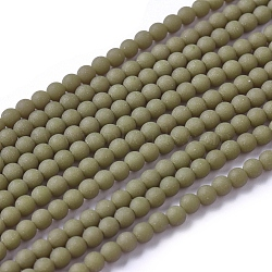 Frosted Opaque Glass Bead Strands, Round, Olive, 2.5mm, Hole: 0.7mm, about 150pcs/strand, 15.35 inches(39cm)(X-FGLA-G002-A03)