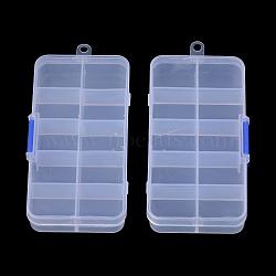 Conteneurs de stockage de perles en plastique, stationnaires 10 compartiments, style aléatoire, rectangle, clair, 13x6.7x2.15 cm, Trou: 0.55mm(X-CON-R008-01)