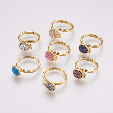 Druzy Resin Cuff Rings, Open Rings, with Brass Findings, Flat Round, Size 8, Golden, Mixed Color, 18mm(RJEW-F078B-G)