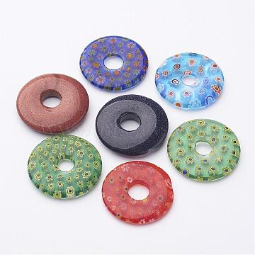 Mixed Color Donut Millefiori Lampwork Pendants