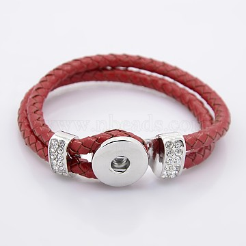 Leather Cord Snap Bracelet Making, with Environmental Zinc Alloy Grade A Rhinestones Snap Leather Cord Clasps and Snaps, Platinum, FireBrick, 9inches(23cm), 11mm; Fit Snap Buttons in 6mm Knob(X-MAK-N003-11)