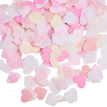 Tissue Paper Confetti, Wedding Party Decorations, Heart, Pink, 24x28mm; about 1300pcs/120g(DIY-WH0106-01)