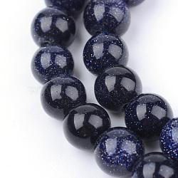 """Chapelets de perles en pierre d'or bleue synthétique, rond, 10~10.5mm, trou: 1.2mm; environ 36 pcs/chapelet, 15.5""""(X-G-Q462-10mm-28)"""