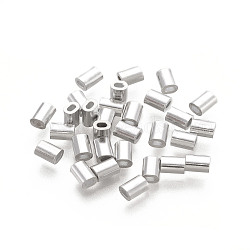 Oval Aluminum Sleeves Clamps, for Wire Rope Swage Clip, Platinum, 4x3x2mm, Hole: 1x1.5mm(STAS-F258-01P)