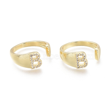 Brass Micro Pave Clear Cubic Zirconia Cuff Rings, Open Rings, Letter, Letter.B, Size 7, Inner Diameter: 17.5mm; B: 8x6mm(RJEW-F103-13B-G)