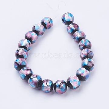 Handmade Silver Foil Glass Lampwork Beads Strands, Round, Colorful, 10~11mm, Hole: 2mm; about 18pcs/strand, 7.08inches(18cm)(X-FOIL-J011-10mm-05)