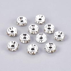 латунные горный хрусталь Spacer бисер, класс, Rondelle, серебристый цвет, размер: около 6 mm в диаметре, 3 mm, отверстия: 1.5 mm(X-RB-A003-6MM-S)
