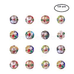 perles en cloisonné main, arrondir, couleur mélangée, 8 mm, trou: 2 mm; 120 pcs / boîte; Conteneur de rangement en plastique carré: 6.4x6.3x2 cm(CLB-PH0001-01-8mm)