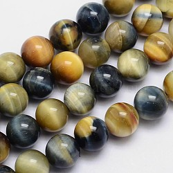 Natural Tiger Eye Round Bead Strands, Dyed & Heated, 12mm, Hole: 1mm; about 34pcs/strand, 15.5inches.