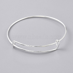 Adjustable Stainless Steel Bangles Making, Silver, 2-1/2inches~2-7/8inches(6.5~7.4cm)(MAK-TAC0001-01S)
