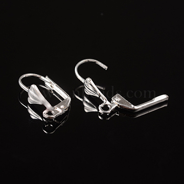 Silver Color Plated Brass Leverback Earring Findings, with Loop, Nickel Free, about 10mm wide, 18mm long, Hole: 2mm(X-EC561-S)