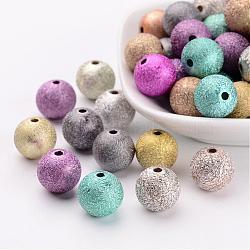 Perles acryliques couleur mélangée jet rond peints, Style mat, taille: environ 12mm de diamètre, Trou: 2mm(X-PB24P9286)